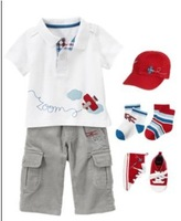 2013 New Summer cotton fashion babyboys clothing set(print turn down collar short t-shirt+soild shorts)4 set/lot,Free Shipping