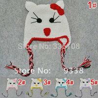 Baby Hats Animal Design handmade baby spring Crochet Cat Hat kids Beanie Baby Crochet caps Beanies  5 color  can choose