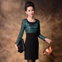 4xl 3xl bust 102 100cm middle-age women elegant beading slim patchwork hip slim lace long-sleeve dress