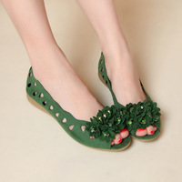 Cotton-made 2013 beijing shoes women's shoes fashion green flower cutout open toe flat sandals