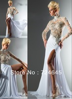 New Arrivlal  2013 A Line High Collar  Beaded Long Slit Beige Chiffon Sleeve Sexy Cheap Tony Bowls  Evening Dress Prom Dresses