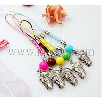 Closeout Fashion Mobile Straps,  with Round Glass Beads,  Tibetan Style Beads and Cord Loop with Alloy Findings and Nylon Cord