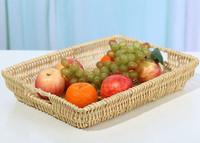 Wicker rattan rectangle fruit plate storage baskets big measurement snacks