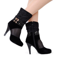 2012 women's spring shoes lace rivet ultra high heels platform women's single boots net boots cutout boots