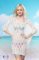 Free Shipping 2013 Charming White See-Through Open-stitch Cover-up Sweater for Women wholesale HL3719