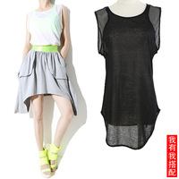 Summer ladies fresh 2013 female brief loose all-match cotton patchwork mesh sexy perspectivity t-shirt