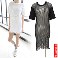 The casualness brief loose zipper back rib knit mesh match one-piece dress