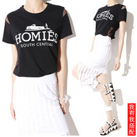 Summer new arrival fashion loose personalized sexy gauze perspective patchwork letter short-sleeve T-shirt