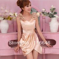 new elegant women formal short mini slim evening dress sleeveless S  M  L  XL  free shipping
