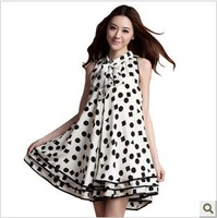 Loose plus size vest maternity dress maternity clothing summer before and after the fashion polka dot skirt maternity one-piece