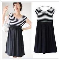 2013 maternity clothing maternity summer fashion o-neck stripe elegant 100% maternity cotton one-piece dress