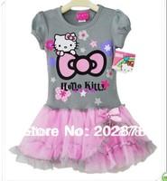 2013 new Retail Girl's dress Pretty Grey Hello kitty printing one piece dress baby Tutu dress  Princess dress