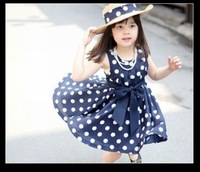 shij014 hot sale polka dot baby girls girls' dresses 100 cotton woven children clothing 2~11age navy white summer girl dress
