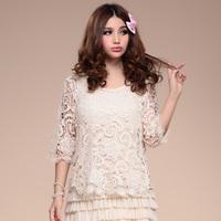 2013 women's spring plus size three quarter sleeve o-neck loose sweater crochet cutout
