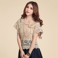 2013 women's cutout crochet embroidery pullover batwing sleeve lace shirt 398