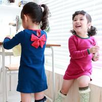 2013 spring bow child female child baby long-sleeve dress 5e-3 cherry one-piece dress  (CC017)