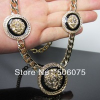 Min Order $10 New Hot Gold Three Enamel Lion Head Women Short Necklace