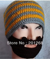 New arrive crochet beard beanie hat knit beard hat  Grey/Orange/Yelllow/ Blue U-pick