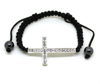 Black Lace Style Silver Sideways Cross Macrame Bracelet Top Seller In Bracelet Lose Money Price B2-071