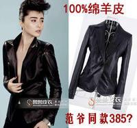 free shipping Short in size 2013 spring one button blazer sheepskin genuine leather female blazer