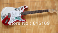2013 New Arrival Custom Shop Maple Guitar F Stratocaster White Red 6 Strings Electric Guitar Wholeasle Price