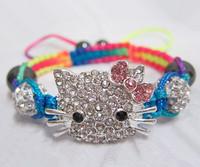 Wholesales 15pcs/lot Kids Bracelets Crystal Shamballa Beads Hello Kitty Cat Bracelets Bangles For Children Jewelry