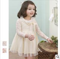 NWT Spring Summer Kids Girls Lace Rose Long Sleeve Tulle Tutu Princess Dress Children Clothing 0029