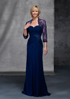 Modest sweetheart beaded appliques royal blue chiffon a line mother of the bride dress with 3/4 sleeve lace jacket