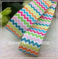 free shipping 10 yards 1'' (25mm) wave printed Grosgrain  ribbon Polyester chevron Ribbon DIY haribow garment accessories