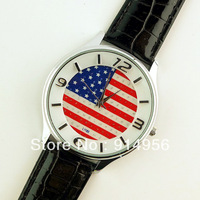 2013 USA Flag Convex Brown Glass Face Dress Watch Imitation Diamond Setting leather watch Ladies Quartz Watch wrist watch