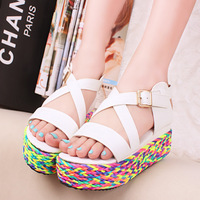 Sandals! Fashion 2014 new summer  women's shoes multicolour knitted cross straps platform wedges sandals female platform shoes