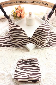 Thin sexy push up zebra print a chip seamless adjustable young girl underwear bra set