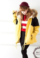 Winter new Korean version of sweet candy colors hit the color with added cashmere coat thick padded jacket