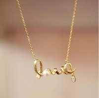 Min.order is $ 10 (mix order) FREE SHIPPING LOVE letters Imitation Diamond Pearl Necklace