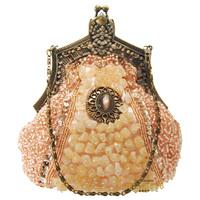 2014 new women Vintage beaded embroidery diamond champagne evening bag day clutch copper frame handmade beading bridal handbag