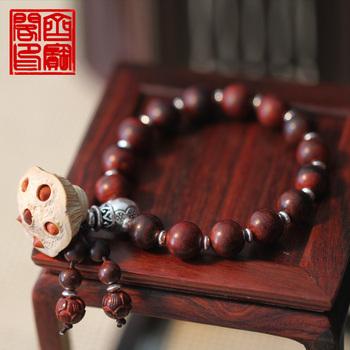 Скульптура ручной работы лотоса очаговая красного сандалового дерева чистого серебра лотоса браслет бисера браслет.