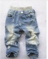 wholesale boy's legging pant girl's trousers leggings Tight leg pants Holes jeans children tights free shipping