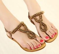 2013 new arrival fashion women beading flat sandal flat leisue casual platform sandals shoes woman 2013 3 colors