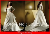 GW167 Short Sleeves Bandage Empire Waist Plus Size Wedding Dress