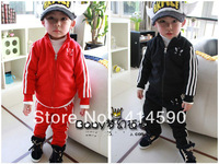 new autumn 2013,kids clothingsets,2013 children kids girlsclovercollarzipcardiganchildrentracksuittrousers,5set/lot Freeshipping