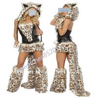 2013 Sexy Cheshire Cat Woman Halloween Costume Top Skirt Leg Warmers Tail& hood