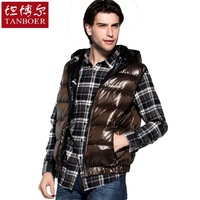 Down coat double faced short design vest with a hood kaross thermal autumn and winter male ta19203