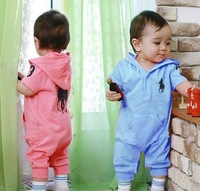 Free Shipping 3 Pieces/lot Baby  Short Sleeve 3 Colors Cotton Hat Attached Jumpsuit ,Baby Cute Rompers