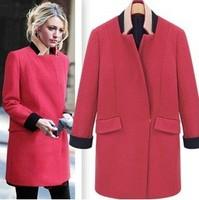 Gossip Girl 2014 new fashion Medium style cocoon shape women's coats winter solid color warm long wool coat Black Red c075