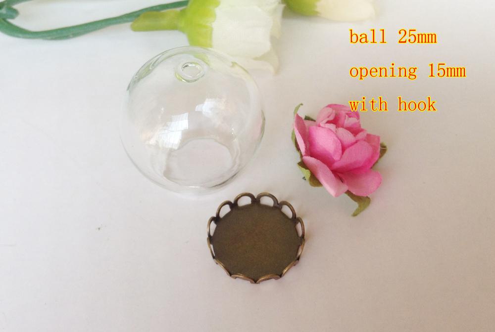 Free shipping!!!! 25mm Glass Loop Ball Pendant Locket globe Charm opening 15mm with hole+ bronze pendant base+ rose flower(China (Mainland))