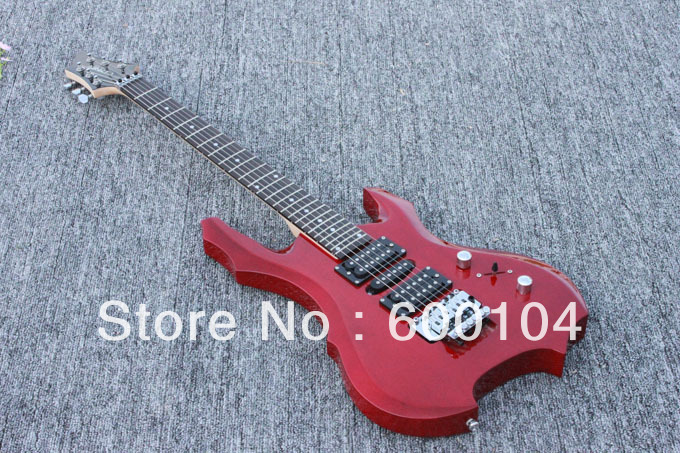 double rocking electric guitars red color 24Frets bass wood body flame form(China (Mainland))