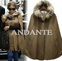 warm coat 2014 new fashion Medium style big fur collar women's coats winter solid color warm long wool cloaks T130