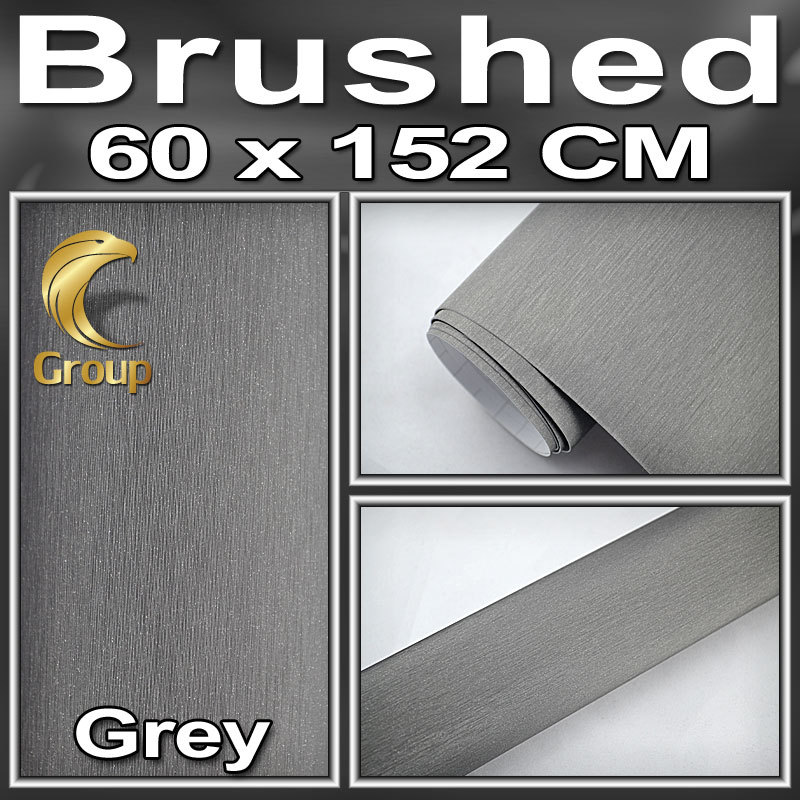 Retail Wraps Grey Metallic BRUSHED ALUMINUM Vehicle Wrap Vinyl Film Car Sticker / Air Channel best Car Styling Size:1.52x0.6m(China (Mainland))