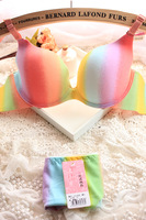 Free Shipping! New Hot Rainbow breathable hole gradient one piece invisible seamless push up comfortable underwear bra set