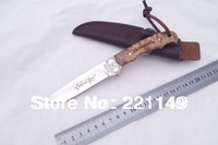 NEWEST!! BROWNING Hunting Fixed Knife,7Cr17Mov blade Burl wood handle sanding Collecing Outdoor knife.FREE SHPPING